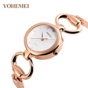 YOHEMEI 0166 Elegant Women Fashion Diamond Bracelet Watch Steel Strap Waterproof Watch Quartz Watch - White - intl