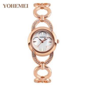 YOHEMEI 0170 Women Alloy Strap Bracelet Watch Ladies Casual Waterproof Quartz Watch - White