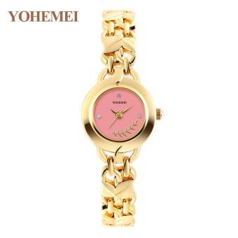 YOHEMEI 0178 Fashion Women Diamond Steel Strap Bracelet Ladies Quartz Wrist Watches - Pink - intl