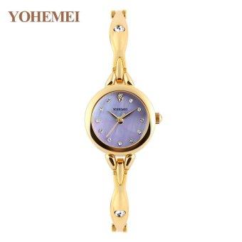 YOHEMEI 0184 Women Fashion Rhinestones Watch Waterproof Alloy Strap Quartz Wrist Watches - Purple - intl