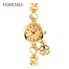 YOHEMEI Fashion Quartz Watches For Women Women's Rhinestone Wristwatch Clock Ladies Simple Classic Rhinestone Bracelet - Gold - Intl