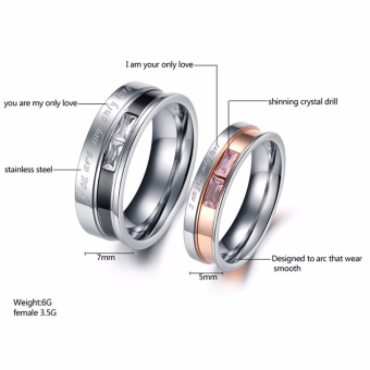 You Are My Only Love Titanium Steel Promise Cincin Pasangan Pernikahan Band 7 # - Intl