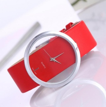 Yumite blonde simple fashionable transparent hollow neutral big watch couple belt table male watch female table red watch red dial - intl