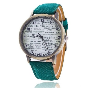 Yumite European and American Retro English Newspaper Cowboy Canvas Watches Men & Women Fashion Casual Quartz Watch Green Strap English Pattern Dial - intl