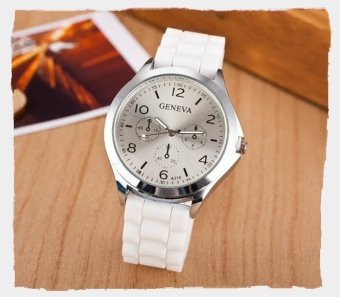 Yumite Geneva Silicone Watch Fake Triangle Big Color Plate Couple Neutral Quartz Watch Men & Women Table Student Watch White Strap White Dial - intl