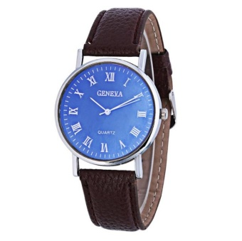 Yumite Knicks in Geneva Belt Men's Watch Casual Fashion Geneva Watches Quartz Business Men's Watch Brown Strap Blue Dial - intl