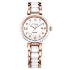 yuwen CITOLE ceramic ladies fashion calendar new watch West Teng waterproof watch 8071 (Gold)