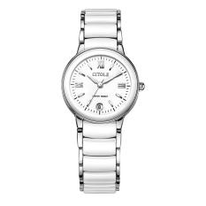 yuwen Ladies watch white ceramic table table West Teng female fashion exquisite quartz watch waterproof thin