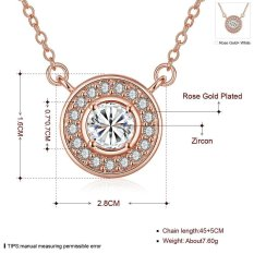 Zircon Round Pendant Necklace 18K Rose Gold Plated Necklace (Intl)