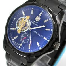 ZNPNXN Men's Fashion Watches Tourbillon Blu - Ray Stars Hollow Mechanical Men 's Watches Belt Belt Table (Blue)