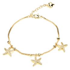 ZUNCLE 18K Gold-plated AAA Zircon Shining Starfish Pendant Spike Bracelet (Gold) (Intl)