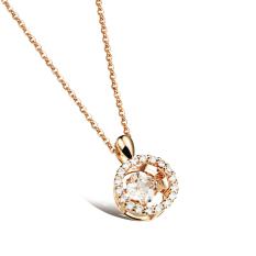 ZUNCLE 3D Round Diamond Pendant Necklace Women Valentines (Golden) (Intl)