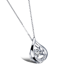 ZUNCLE Drop-type Diamond Pendant Necklace Women Valentines (Silver) (Intl)