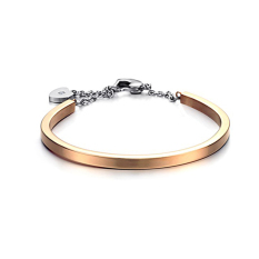 ZUNCLE Korean Fashion Jewelry Simple Heart-shaped Lock 18K Gold Plated Ladies Bracelet (Rose Gold)