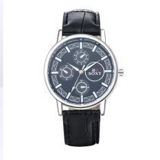 ZUNCLE Men Casual Leather Band Quartz Wrist Watch (Black)