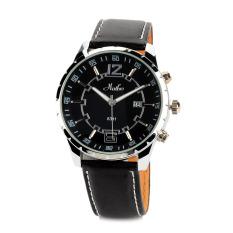 ZUNCLE Men's Stainless Steel Matte Leather Band Quartz Analog Wrist Watch (Black)