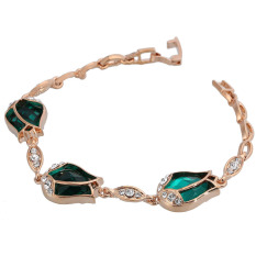 ZUNCLE Silver Platinum Plated Faux-Pearl Top-quality Crystal Rhinestone Chain Bracelet (Green) (Intl)