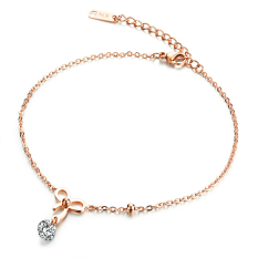 ZUNCLE Swiss Diamond Butterfly Bow Women's Necklace Pendant (Rose Gold)