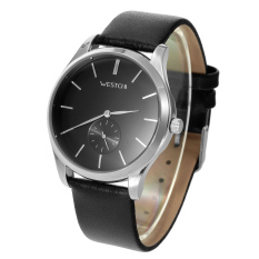 ZUNCLE W7118GBK-1 Men's Fashion Casual Genuine Leather Strap Waterproof Quartz Watch W / Small Seconds Sub-Dial - Silver + Black (Intl)