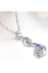 ZUNCLE Women's Fashion Diamond Swiss Imports Necklace (Purple)