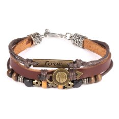 ZUNCLE Women's Smiley Face Doll Leather National Style Bracelet (Brown)