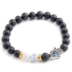 8mm Lava Rock Stone White Howlite Hamsa Hand Evil Eye Bead Charm Bracelet Bangle Black (Intl)