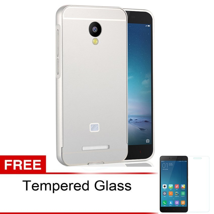 Accessories Hp Metal Bumper Backdoor for Xiaomi Redmi Note 2 - Silver + Gratis Tempered Glass