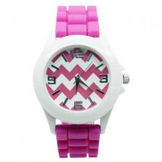 AceWin 638386 Jam Tangan Unisex Stripes Silicone Jelly Gell Wrist - Pink