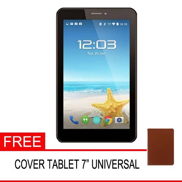 Advan Vandroid E1C Pro Tablet - 8GB - Hitam + Gratis Cover Tablet Universal