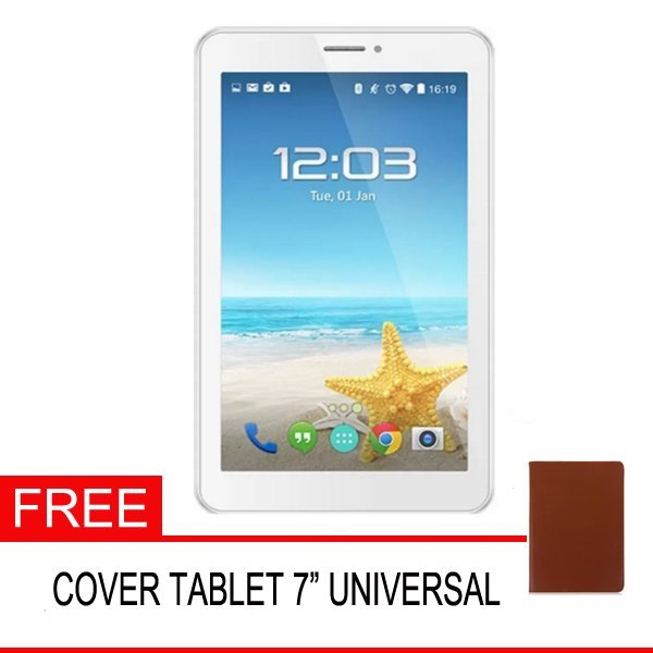 Advan Vandroid E1C Pro Tablet - 8GB - Putih + Gratis Cover Tablet Universal