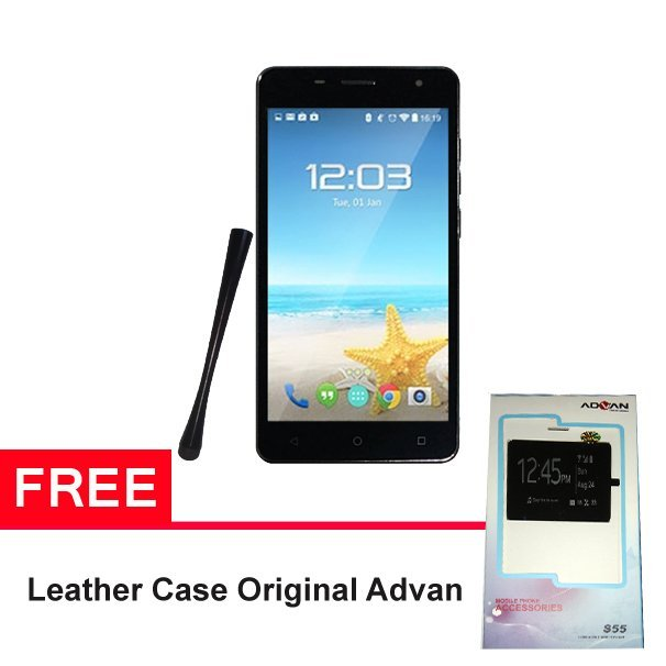 Advan Vandroid S55 - 8GB - Hitam + Gratis Leather Case