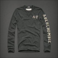 AF Men 's Fashion Crew Neck Cotton Long Sleeved Casual T-shirt (Dark Gray)