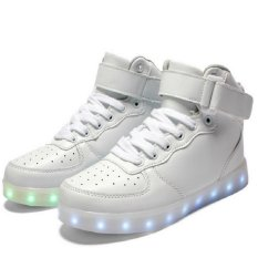 AFS Women's Men's Fashion High Top Sneakers USB LED Light Luminous Shoes - White