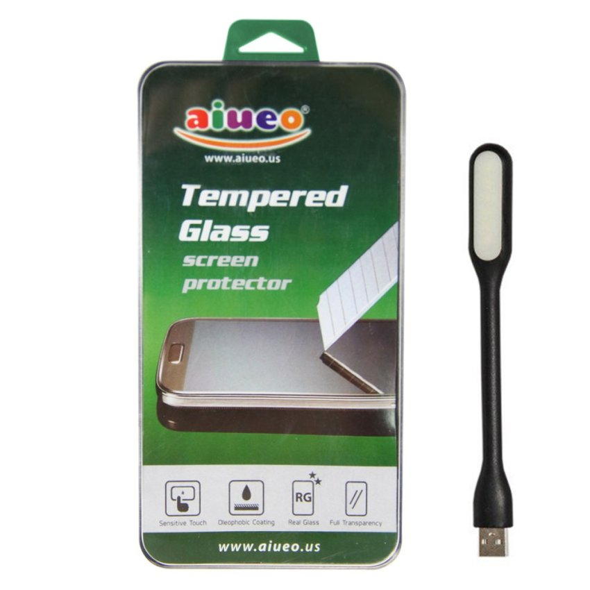 AIUEO - HTC One E9+ A55 Tempered Glass Screen Protector Bundling Power Angel LED Portable Lamp