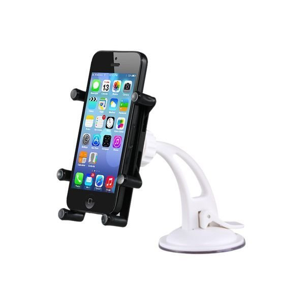 AJM M802 1 360 degree Rotation Metal Silicone Cell Phone/Tablet Holder Stand with Suction Cup (Black)