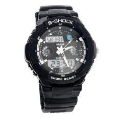 Akerfush Mens Dual-time Display Quartz Outdoor Wrist Watches (Black)