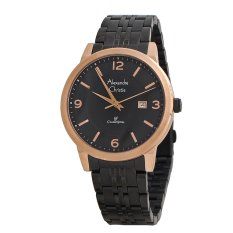 Alexandre Christie Jam Tangan Pria - Black-Rose Gold - Strap Stainless Steel - Gents 8424MD