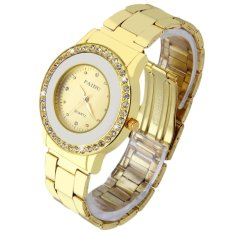 Allwin New Round Quartz Analog Women Golden Stainless Steel Band Wrist Watch Golden (Intl)