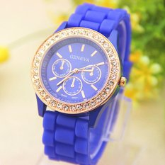 Analog Quartz Wrist Watch Jelly Golden Crystaal Silicone Watch Blue (Intl)