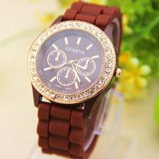 Analog Quartz Wrist Watch Jelly Golden Crystal Silicone Watch Coffee
