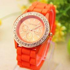 Analog Quartz Wrist Watch Jelly Golden Crystal Silicone Watch Orange