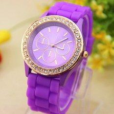 Analog Quartz Wrist Watch Jelly Golden Crystal Silicone Watch Purple