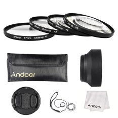 Andoer 67mm Close-up Macro Lens Filter Set (+ 1 + 2 + 4 + 10) With Lens Accessories (Lens Pouch / Collapsible Lens Hood / Lens Cap / Lens Cap Holder / Cleaning Cloth) - Intl