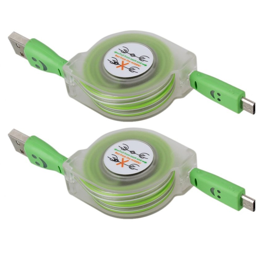 Android Retractable Visible Light Up USB Data Cable Set of 2 Green