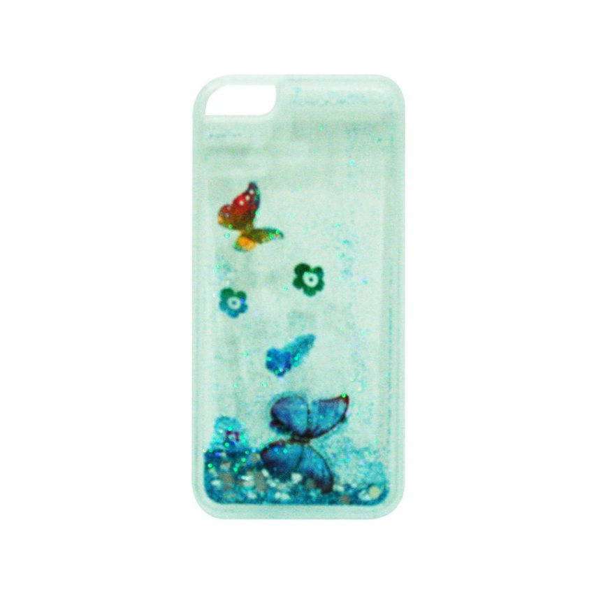 Anonymous Clear Glitter Butterfly Light Blue Hardcase iPhone 6