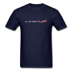 AOSEN FASHION Custom Printed Men's All We Need Is Beer T-Shirts Navy
