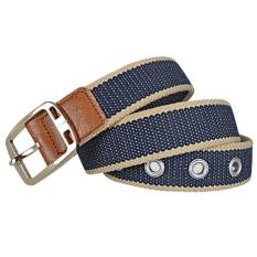AOXINDA New Fashion Women & Men's Canvas Golden Buckle Causual Belt 125cm - Light Gray Dark Blue - Intl