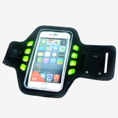 Armband Sport Gym Running With LED For Smartphone 4.7 Inch - Hitam-Hijau