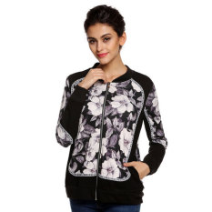 Astar Finejo Cool Stylish Ladies Women Floral Patchwork Full Zipper Spring Autumn Jacket - Intl