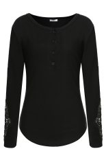 Astar Meaneor Ladies Women Casual Lace Patchwork Long Sleeve Front Button Blouse Tops (Black) (Intl)
